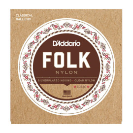 Струни для класичної гітари D`ADDARIO EJ32C FOLK NYLON Ball End Silver Wound / Clear Treble