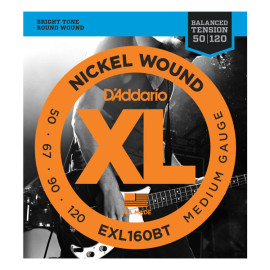 Струни для  4-струн. бас-гітари D`ADDARIO EXL160BT XL BALANCED TENSION BASS MEDIUM 50-120