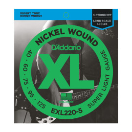 Струни для 5-струн.бас-гітари D`ADDARIO EXL220-5 XL SUPER LIGHT 5 STRING 40-125