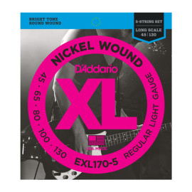 Струни для 5-струн. бас-гітари D`ADDARIO EXL170-5 XL REGULAR LIGHT 5 STRING 45-130