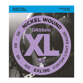 Струни для 4-струн. бас-гітари D`ADDARIO EXL190 XL CUSTOM LIGHT 40-100
