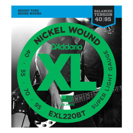 Струни для 4-струн. бас-гітари D`ADDARIO EXL220BT XL BALANCED TENSION BASS SUPER LIGHT40-95