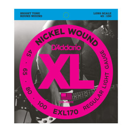 Струни для 4-струн. бас-гітари D`ADDARIO EXL170 XL REGULAR LIGHT 45-100