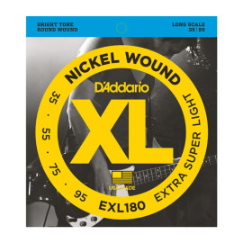 Струни для 4-струн. бас-гітари D`ADDARIO EXL180 XL EXTRA SUPER LIGHT 35-95